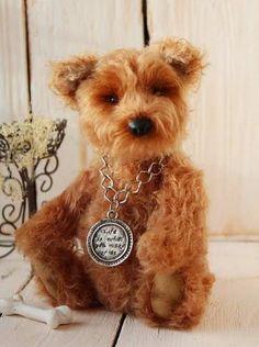8 Inch Artist Hand Made Teddy Dog Terrier (166.00 USD) by KindBears