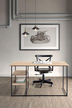 minimalist industrial chic office