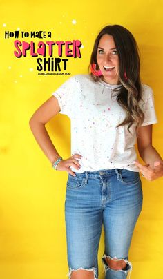 How to paint on fabric without fabric paint! - A girl and a glue gun #paint #fabricpaint Easy Crafts To Sell, Cute Crafts, Diy Fashion Projects, Crafty Projects, Fun Projects, Paint Splatter Shirt, Textile Medium, Bullet Journal For Beginners, Diy Wedding On A Budget