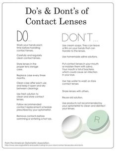 Dos and Don'ts of contact lenses