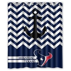 Chevron Anchor NFL Houston Texans Polyester Bathroom Waterproof Shower Curtain 60Wx72H