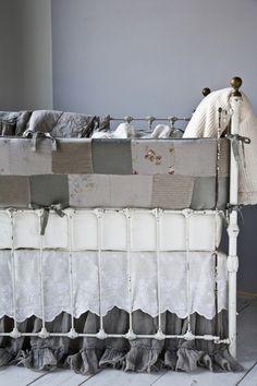 Love the bedding and antique crib/metal crib