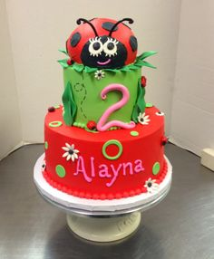 Adorable Lady Bug Girls 3 tier Birthday Cake #3tier #ladybug #cute #spring #fun #yummy #luckytreats #designs