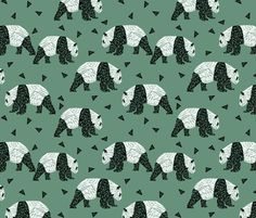 Geometric Panda - Viridian by Andrea Lauren  fabric by andrea_lauren on Spoonflower - custom fabric