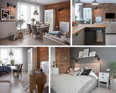 Grey Wood Floors, Wall Cladding, Small Apartments, Flat Design, Decoration, Interior Inspiration, Brick, Home And Garden, Flooring