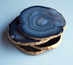 Black and Gray Agate Coasters SET OF 4 Druzy by PinkFlamant