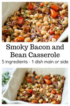 Smoky Bacon and Bean Casserole   A simple 5-dish recipe that can be made in one dish and served as a main or hearty side. It's the perfect weeknight recipe that's easy enough for beginner cooks. via @housewifehowtos
