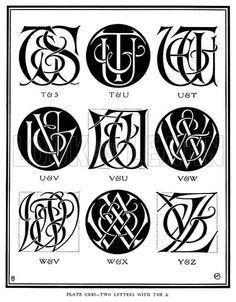 Two Letters with the &, T & S, T & U, U & T, U & V, V & U, V & W, W & V, W & X, Y & Z. Illustration for Monograms and Ciphers designed and drawn by A A Turbayne and other members of the Carlton Studio (Caxton, 1905).