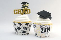 Graduation Cupcake toppers and ADJUSTABLE cupcake wrappers combo SW500 by simplywrappers on Etsy https://www.etsy.com/listing/187847333/graduation-cupcake-toppers-and