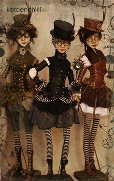 Love these dolls. Steampunk Dolls, Gothic Dolls, Steampunk Costume, Steampunk Clothing, Steampunk Fashion, Bjd, Clay Dolls, Art Dolls, Paperclay