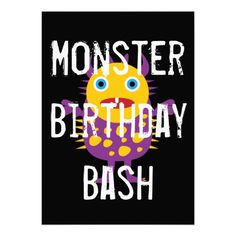 Colorful Monsters Kids Birthday Party Invitations A cute collage of colorful monsters announce this monster birth. Monster Birthday Invitations, Monster Birthday Parties, Birthday Bash, Homebrew Recipes, Purple Birthday, Cool Monsters, Purple And Black, Gifts, Color