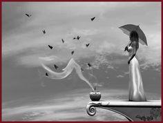 Femmes au parapluie ou ombrelle