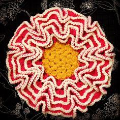 花の編み座布団