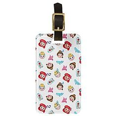 Stand out in a crowd at the baggage carousel with a custom luggage tag featuring three of your favorite Disney Princesses. Belle, Cinderella, and Ariel are featured as cute Emoji characters on this customizable durable waterproof luggage tag.