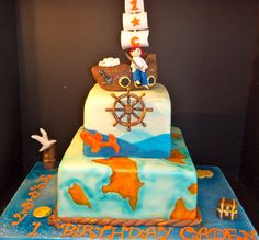 CakesbyKirsten. Vintage map design based of a pic I saw...by maylene. Boat is R/C covered in fondant. #Piratecake. #nauticalthemecake