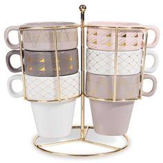 6 Tassen + Halterung aus Steingut MODERN COPPER