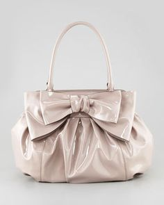 ShopStyle: Valentino Double-Handle Lacca Bow Bag, Beige