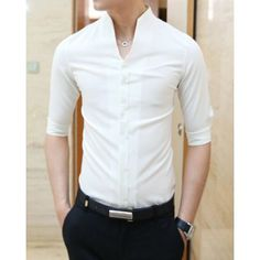 Casual Style Slimming Half Sleeves Stand Collar Solid Color Cotton Blend Shirt For Men Big Men Fashion, Mens Fashion Wear, Suit Fashion, Fashion Outfits, Formal Shirts, Casual Shirts, Half Sleeve Shirts, Half Sleeves, Indian Groom Wear
