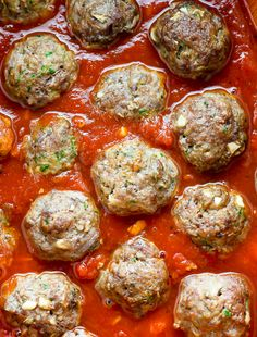 Omit sugar - Juicy and flavorful turkey meatballs swimming in a sea of homemade marinara sauce. Baked and ready in about 30 minutes. Turkey Recipes, Paleo Recipes, Healthy Dinner Recipes, Cooking Recipes, Healthy Dinners, Turkey Zucchini Meatballs, Baked Turkey, Chicken Zucchini, Homemade Marinara