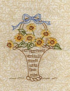 Vintage Embroidery, Ribbon Embroidery, Floral Embroidery, Cross Stitch Embroidery, Embroidery Patterns, Machine Embroidery, Button Hole Stitch, Lazy Daisy Stitch, Flower Quilts