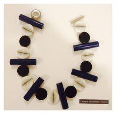 Collana ad elementi irregolari bluette cioccolato e bianco.... Armani style....