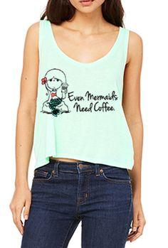Mermaids Need Coffee Flowy Crop Tank Top in Mint   Sincerely Sweet Boutique