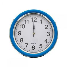 Round Blue & Silver Wall Clock - 2 Pack