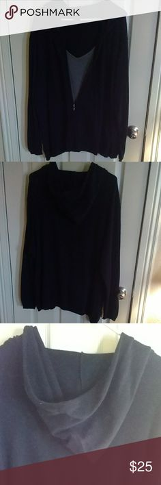 Venezia hooded sweater EUC.... cute black and grey hooded sweater with mock tank this is one of those items you pull on when you're in a hurry and ready to go. With jeans for a quick outfit one of my favorites this is very roomy and has lots of stretch pair with black jeans or grey sweats for a more comfortable look Venezia Tops Sweatshirts & Hoodies