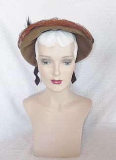 1940s Vintage Olive Gray Hat with Feather by MyVintageHatShop