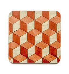 4 Coasters orangey red and ivory Coasters Housewarming Gift