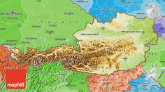 Physical Map of Austria, political shades outside