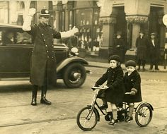 Children on a tandem bicycle in Dublin, Ireland. She doesn't look so sure about being photographed, does she? funny real life , mini tour de france stops in dublin and forces cops to stop the traffic too, funny vintage real life photo Old Pictures, Old Photos, Vintage Photos, Funny Pictures, Dublin Ireland, Ireland Travel, Tandem Bicycle, Irish American, Vintage Photography