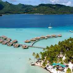 I want one of those cabins! Tahiti French Polynesia, Society Islands, Island Resort, South Pacific, Bora Bora, Resort Spa, Aerial View, Dream Vacations, Places To See