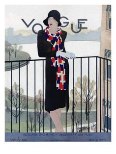 Vogue Cover - September 15 1928 Poster Print by Pierre Mourgue at the Condé…