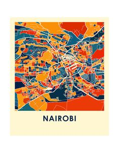 Nairobi Map Print Full Color Map Poster by iLikeMaps on Etsy