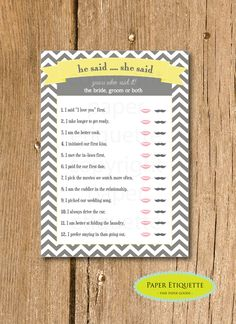 """INSTANT UPLOAD Bridal Shower Game """"He Said ... She Said"""" -  Yellow and Gray Chevron -  Wedding Shower, Bachelorette Game, Bridal Game by PaperEtiquette on Etsy"""