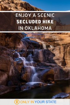 Get away from it all on this secluded trail in Oklahoma! You'll find a lake, waterfall, and more. This trail is beginner, kid, and dog-friendly. Travel Words, Places To Travel, Places To See, Oklahoma Waterfalls, Wichita Mountains, Hidden Beach, Local Parks, Travel Oklahoma, Dog Travel