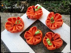 BUY 3 GET 1 FREE Kanzashi Pumpkin by SewGurlyBowtique on Etsy, $4.00