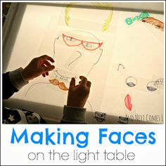 Making Faces on the Light Table - Projector - Ideas of Projector - Making funny faces on the light table from And Next Comes L Reggio Emilia, Sensory Lights, Overhead Projector, Projector Ideas, Licht Box, Light Board, Shadow Play, Making Faces, Kids Lighting