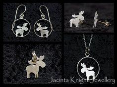 Moose / elk sterling silver jewellery. Handmade from Argentium(R) silver.