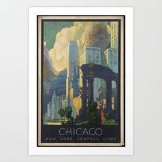 Vintage Poster Vintage Chicago Illinois Travel Postcard - Vintage Chicago Illinois Post Card - from our fantastic collection of vintage and retro travel postcards. Chicago Poster, Chicago Art, Chicago Travel, Chicago Illinois, Kunst Poster, New York Central, You Draw, Vintage Travel Posters, Retro Posters