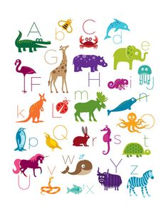 Animal Alphabet Poster Print 16 x 20 by theIrisandtheBee on Etsy, $30.00