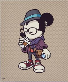Mickey Mouse ''Hipster Mickey'' Giclée on Canvas - Gallery Wrapped - Large