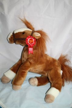 "Wells Fargo Horse Plush Pony Mack Brown 13"" Stuffed Animal Red Ribbon Bow 2012 #WellsFargo"