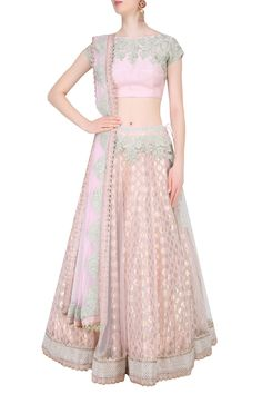 Light pink and mint green embroidered lehenga set available only at Pernia's Pop Up Shop.