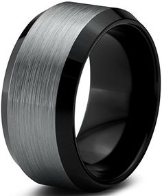 Tungsten Wedding Band Ring 10mm for Men Women Comfort Fit Black Beveled Edge Polished Brushed Size 55 >>> You can get more details by clicking on the image.