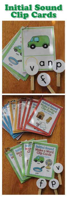 Beginning sound clip cards for preschool, pre-k, kindergarten, RTI, and busy bags