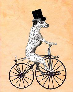 Dalmatian 14x11 On Bicycle Art Print Illustration Poster Acrylic Painting Giclee Animal Painting Wall Decor Wall hanging Wall Art Dog print
