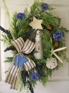 Nautical Wreath FREE SHIPPING Summer Lighthouse by FunFlorals