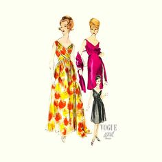 60s Vogue Special Design Evening Dress Pattern 5835 with Stole Size 12 Bust 32 Uncut & Label